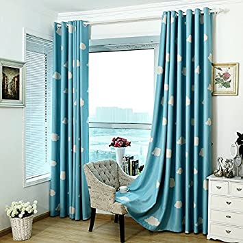 Blue And White Cloud Room Darkening Semi Blackout Curtains For Childrens  Living Room Bedroom (54u0026quot