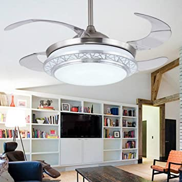 Chrome RS Lighting 42 inch Ceiling Fans Modern Style Design Telescopic Ceiling Fan Light with Remote Control Third Gear Fan Speed Control and Light for Indoor Living Bedroom
