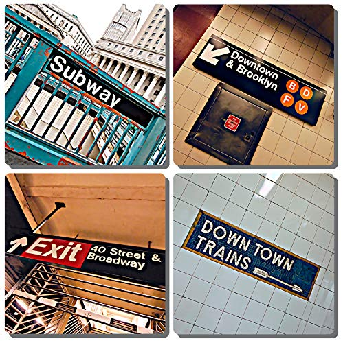 EXIT82ART - Stone Drink Coasters (Set of 4). New York City Subway. Tumbled Stone, Cork-backed