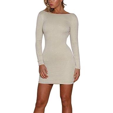 Elecenty Damen Rückenfrei Partykleid Minikleid,Mädchen Bodycon Langarm  Verein Rock Kleider Frauen Solide Kleid Knielang a51b35a34b