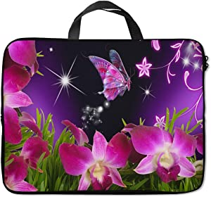 Britimes Laptop Sleeve Case Protection Bag Waterproof Neoprene PC Cover Water Resistant Notebook Handle Carrying Computer Protector Beautiful Butterfly Flower 14 15 15.6 inches