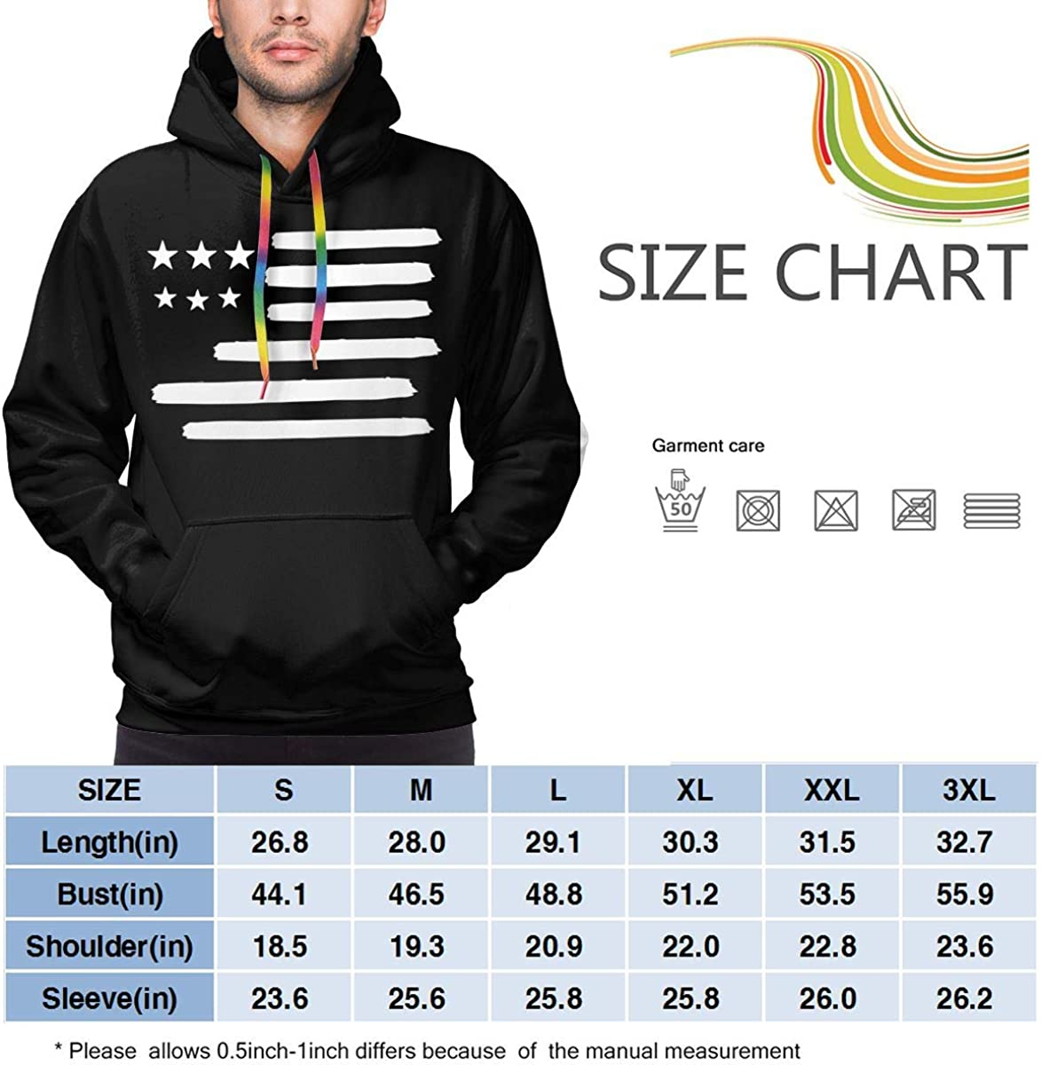 USA Flag in White Mens Hooded Sweatshirt Pullover Hoodies Sweater Blouses Tops