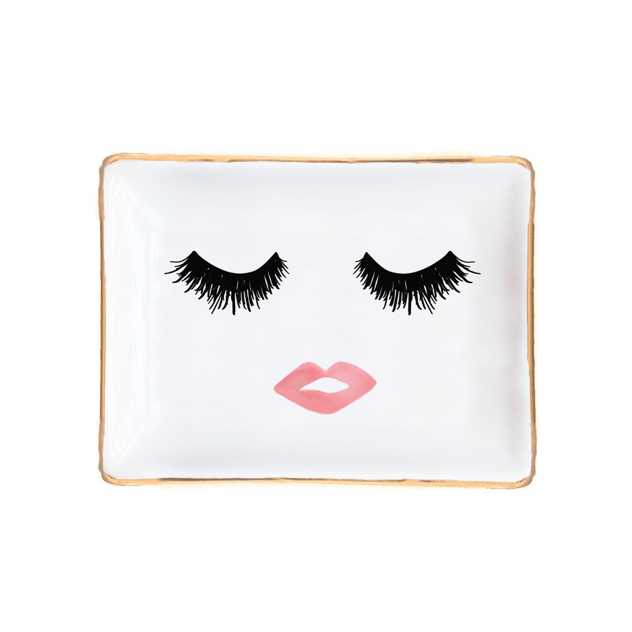 Lashes and Lips Jewelry Dish | Ring Storage Display Bridesmaid Gift for Her Gold Ceramic Organizer Tray Small Office Decor Desk Accessories Hand Drawn