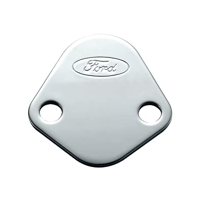 Proform 302-290 Chrome Fuel Pump Block-Off Plate with Embossed Ford Logo for Ford 289-351 Windsor/352-428 FE Series/429/460: Automotive