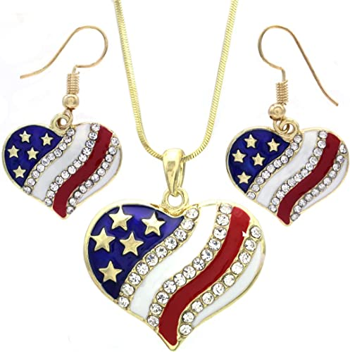 USA American Patriotic National Flag Star Pendant Necklace Stud Earrings Set