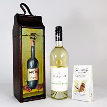 Monastier White Wine Gift Carrier con chocolates de ...