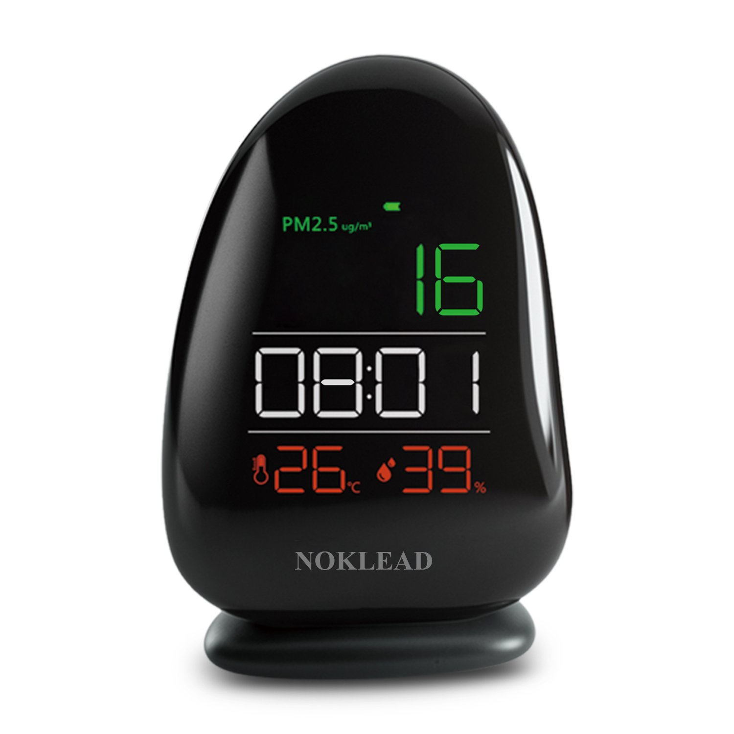 NOKLEAD Air Quality Monitor PM2.5 Temperature Rh Humidity Meter with Time for Home Office School Hospital, Powered via Built-in 1000mAh Lithium Battery or USB Port with Charging Dock (Black)