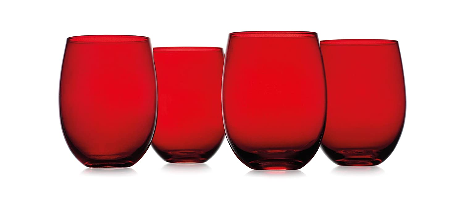 Christmas Tablescape Décor - Ruby red Tuscana stemless wine glass cups - Set of 4