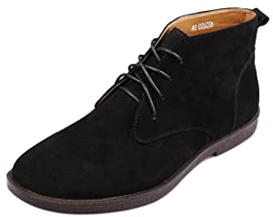 PhiFA Men's Suede Leather Ankle Chukka Boots Lace-ups Flat Heels US Size 7.5 Black
