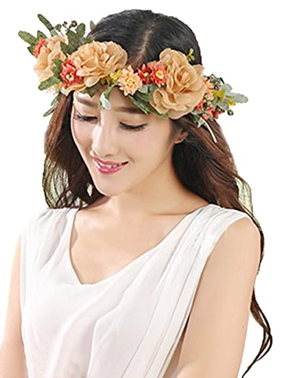Vivivalue Flower Garland Crown Boho Flower Headband Hair Wreath Floral  Headpiece Halo with Ribbon Wedding Party 050349f6b2f