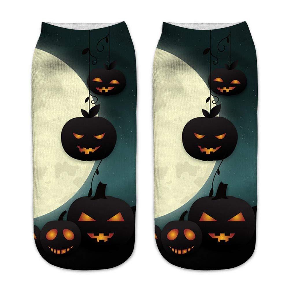 Big promotion baskuwish Casual Work Business Socks 3D Halloween Pumpkin Printing Medium Sports Socks (D)