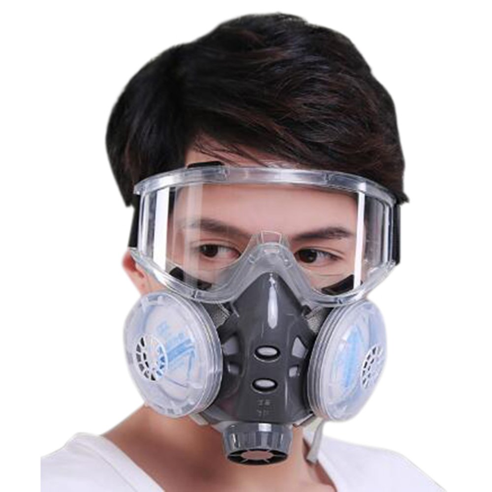 Holulo Chemical Anti-Dust Respirator Mask w/Goggles Set Gas Mask by Holulo