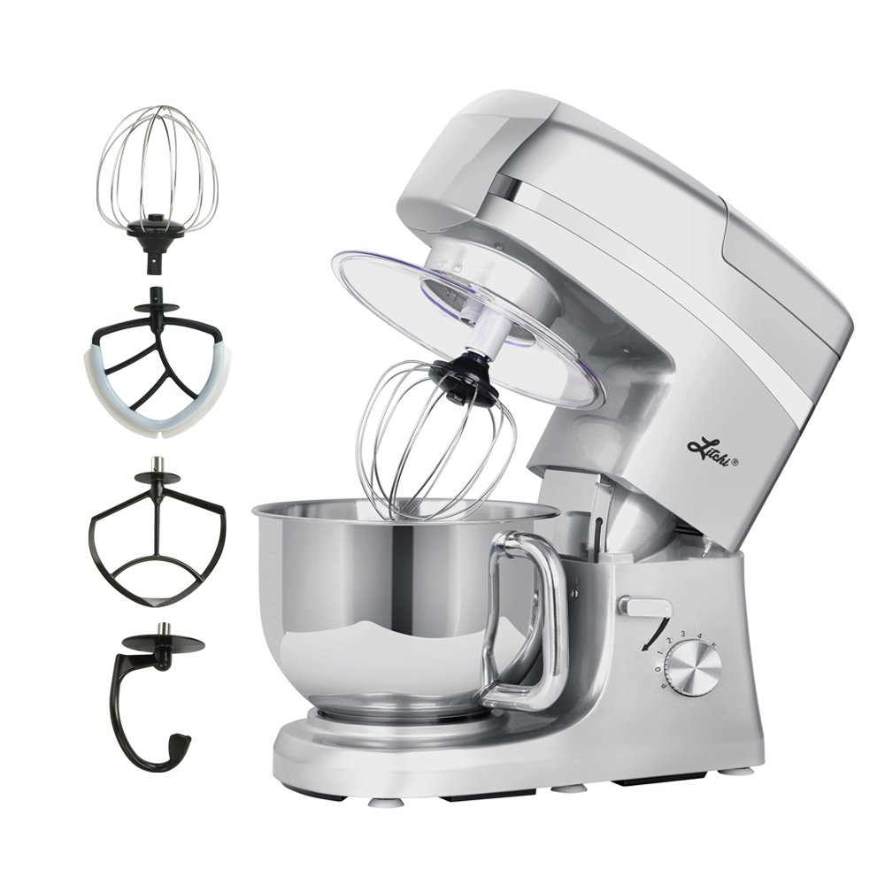 Litchi 5.3 Quart Stand Mixer, 6 Speed Tilt-Head Stand Mixer with Blender, Sausage Stuffer, Pasta Dies, Dough Hook, Mixing Blade, Flat Beater, Whisk and Pouring Shield, Silver by Litchi