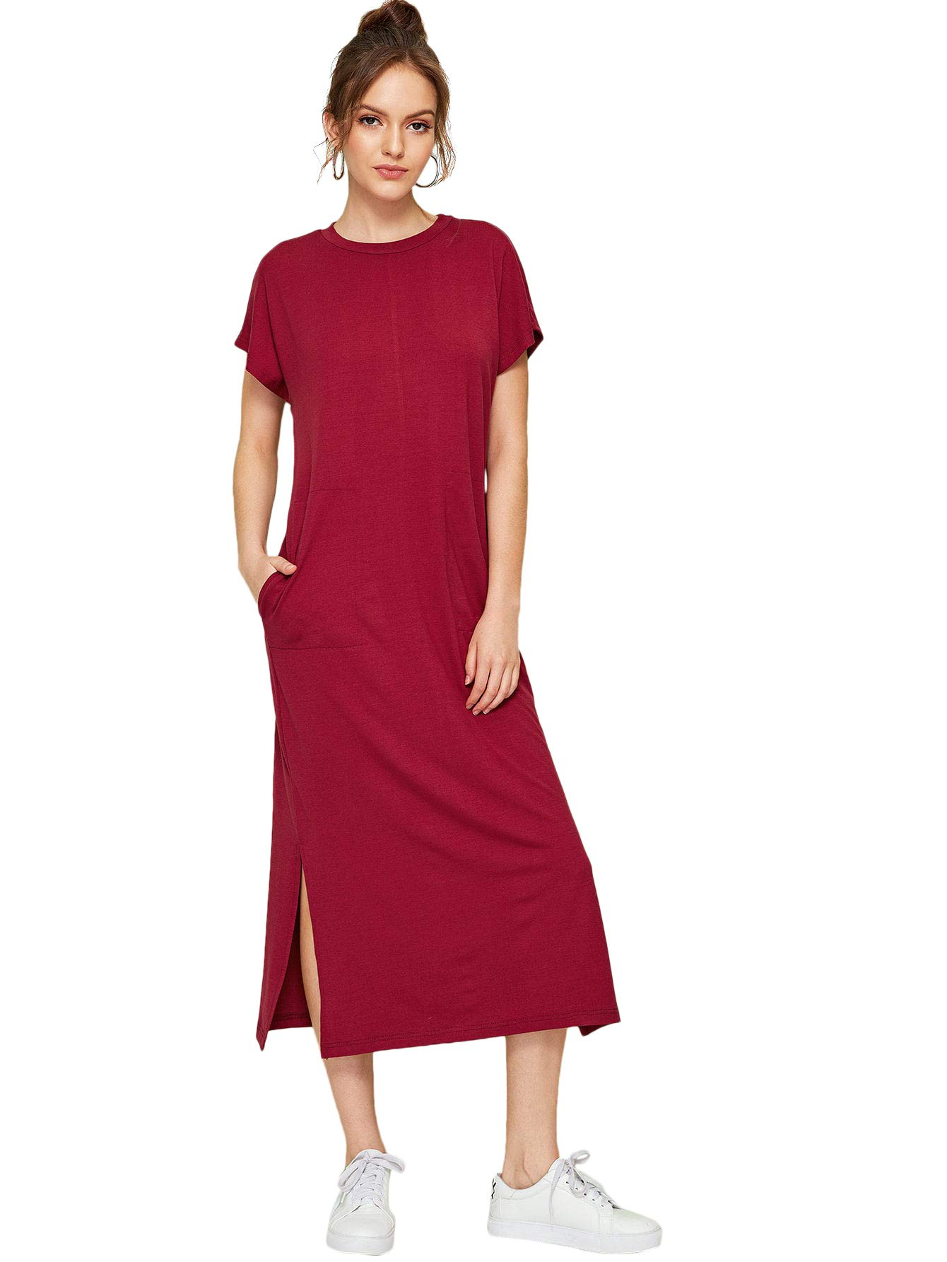 2ce2e07cebf70 Romwe Women's Casual Loose Solid Short Sleeve Round Neck Maxi Dress  Burgundy# XL