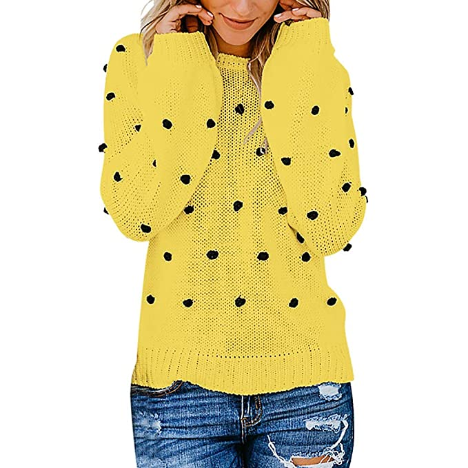Luckycat Las Mujeres de Moda de Punto de Punto sólido de Manga Larga Jersey Tops suéter