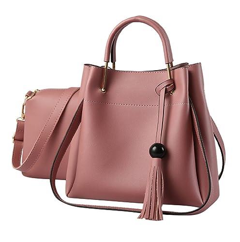 Baymate Borlas Bolsos PU Piel para Mujer Moda Tote Bag Bolsos y Saco de hombro Carteras 2 piezas Pink: Amazon.es: Zapatos y complementos