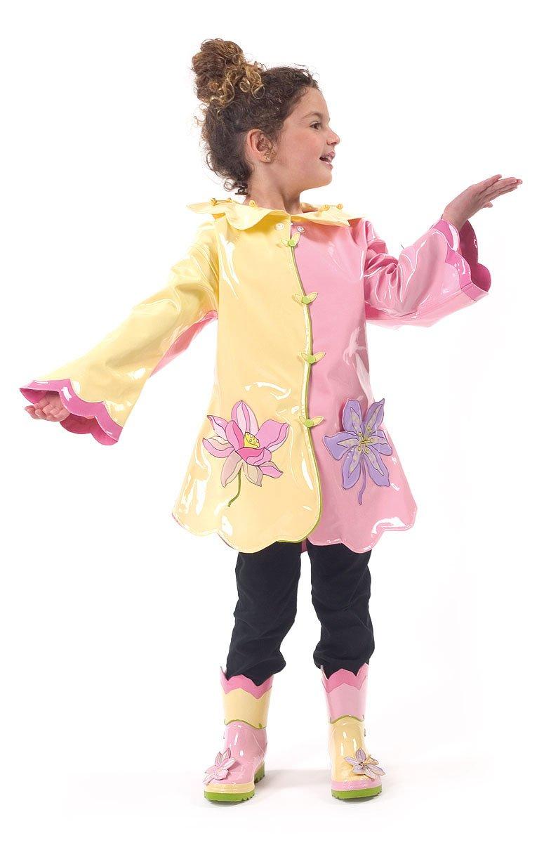 Kidorable Lotus Flower Kids Rain Jacket, All Weather Raincoat, Yellow & Pink Size, 6/6X Kids (US Sizing), Waterproof, Machine Washable