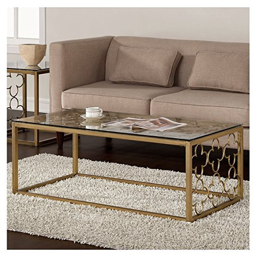 Charmant Quatrefoil Goldtone Metal And Glass Coffee Table