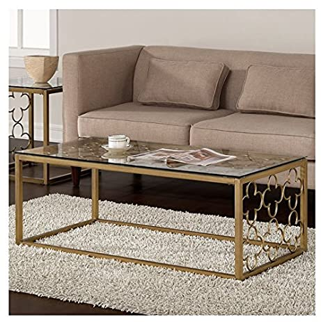 Amazoncom Quatrefoil Goldtone Metal and Glass Coffee Table