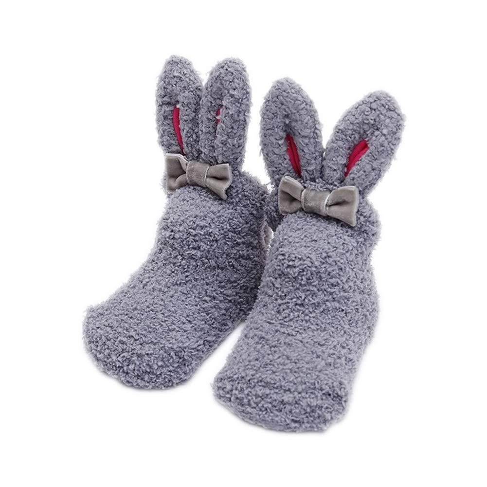 Leisial 1 pares Calcetines Antideslizantes para Bebé s Grueso caliente Forma de Oreja de Conejo Velló n de Coral para 1-3 Añ os Niñ os 46V18PG09LQ5