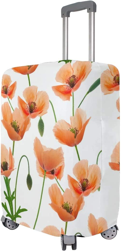 Travel Luggage Cover Blooming Flowers Orange Pattern Suitcase Protector