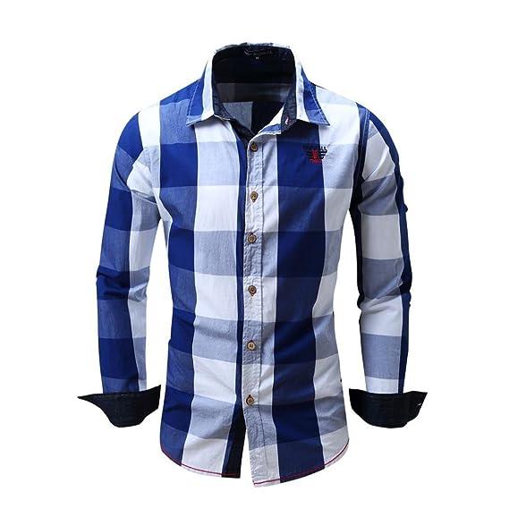 Camisa a Cuadros de Hombres Manga Larga sin Hierro Blusa Casual Top Entallado de Algodón Entallado