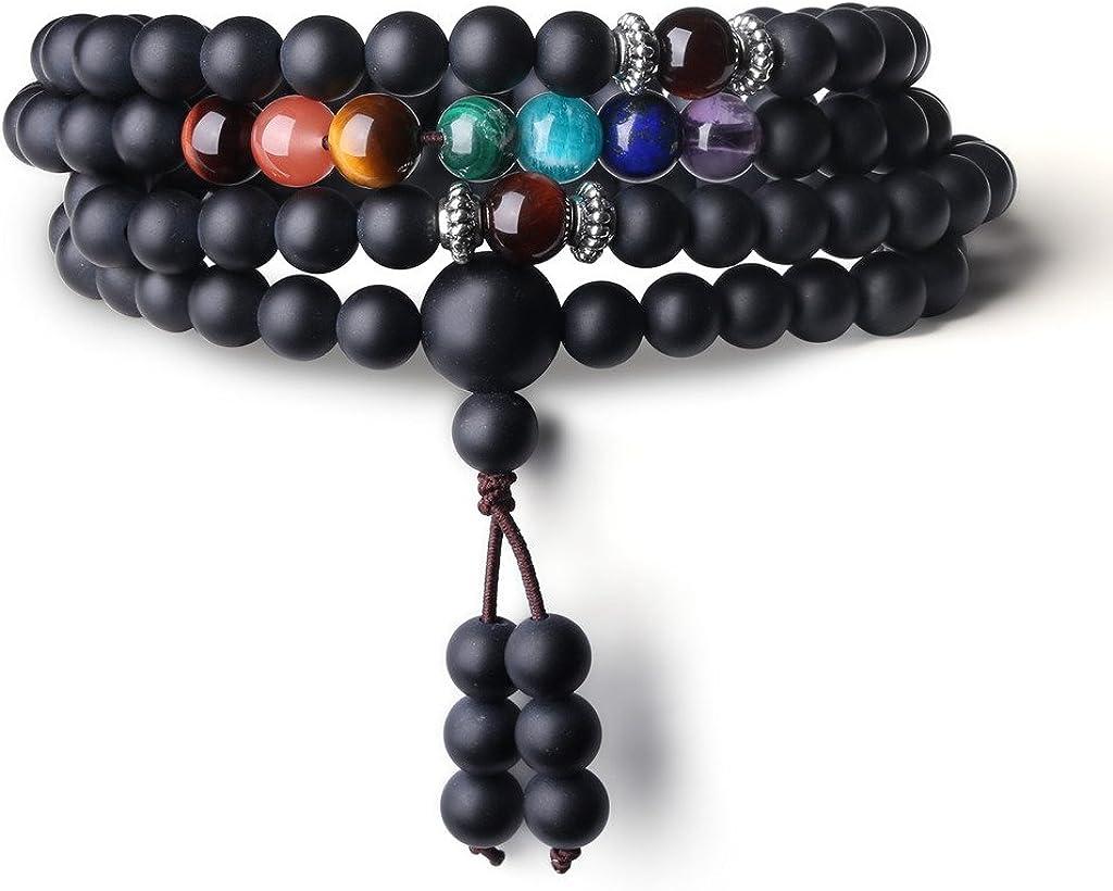 COAI® 7Chakra Perlas de ágata geschlif Ferner Onyx roja Ojo de Tigre Oración Pulsera/Collar para Hombre/Mujer