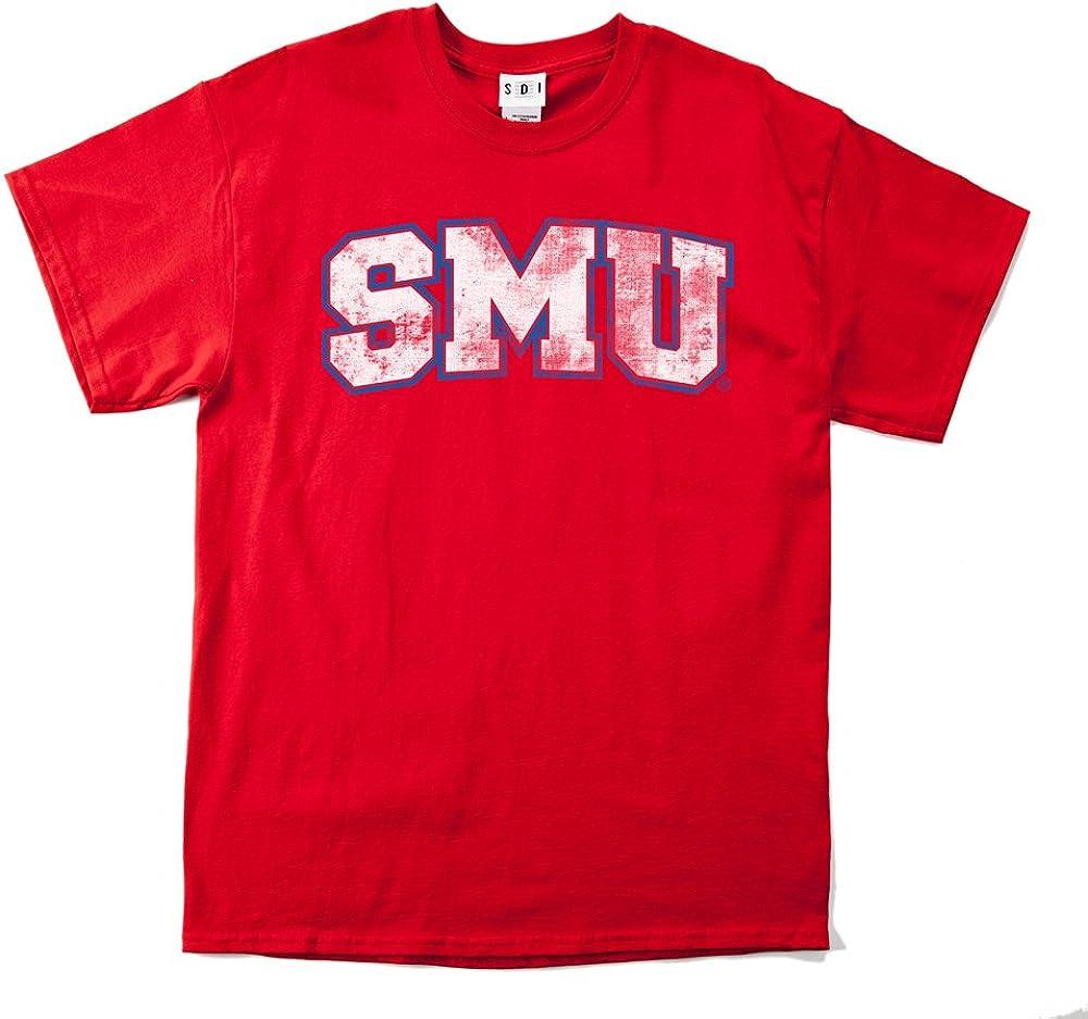 NCAA SMU Mustangs 100-Percent Pre-Shrunk Vintage Arch Short Sleeve Tee
