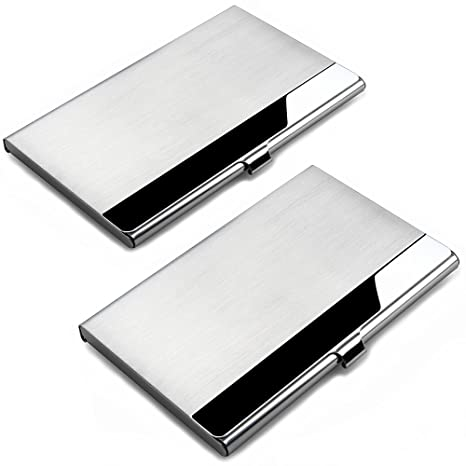 Business Card Cases, SENHAI 2 Pack Business Card Holders, Stainless Steel Storage Protective Holders Pocket Cases for ID Cards Credit Cards