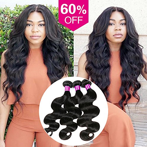 Maysu Brazilian Body Wave Hair 3 Bundles 8A Unprocessed Virgin Hair Weft Remy Human Hair Weave Extensions Natural Color for Women 16 18 20 inch (Fedex Refund Policy)