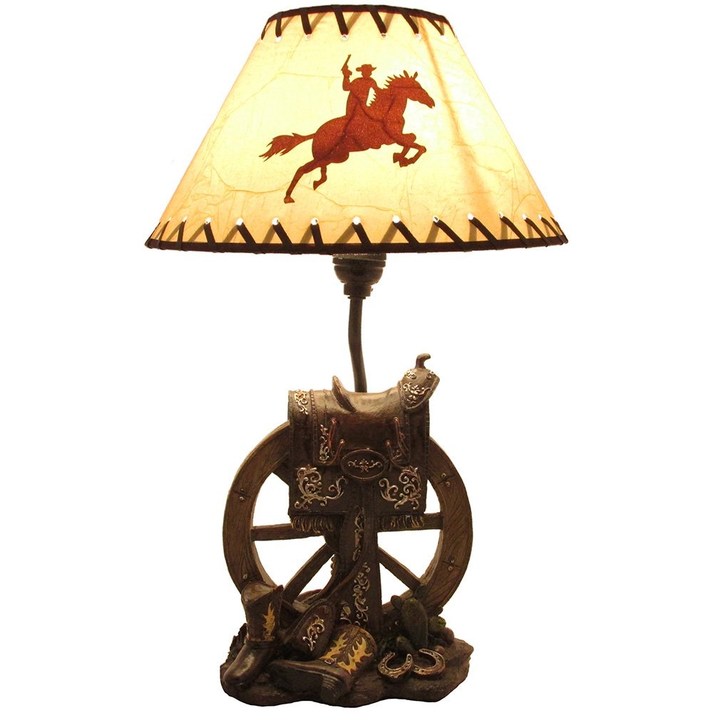 Fantastic Horse Saddle on Wagon Wheel Desktop or Table Lamp in Gifts for  SE07