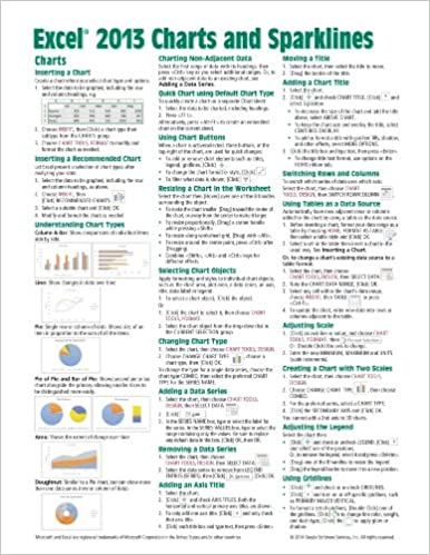 Download online Microsoft Excel 2013 Charts & Sparklines Quick Reference Guide (Cheat Sheet of Instructions, Tips & Shortcuts - Laminated Card) PDF, azw (Kindle), ePub