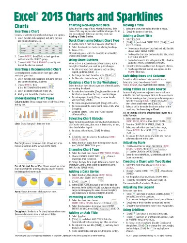 Microsoft Excel 2013 Charts & Sparklines Quick Reference Guide (Cheat Sheet of Instructions, Tips & Shortcuts - Laminated Card)