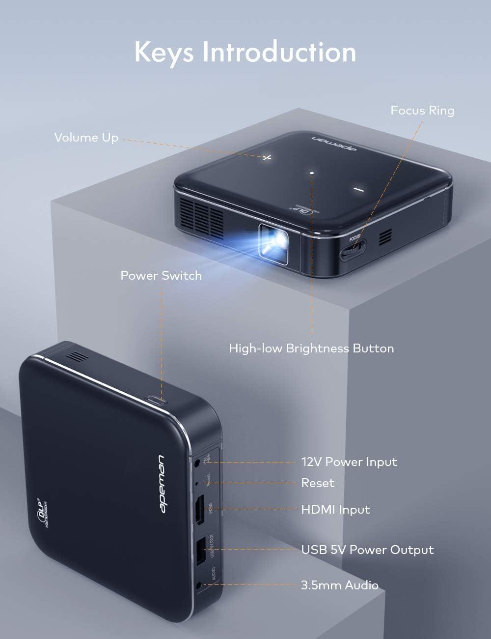 Proiettore APEMAN Mini Proiettore M400 Portatile DLP 1080P,Supporto per Altoparlanti Stereo Con Batteria Ricaricabile Integrata e Ingresso HDMI Proiettore Tascabile per La Casa e Lesterno.