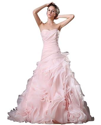 Amazon Vimans Pink Sweetheart Organza Bridal Dresses Long
