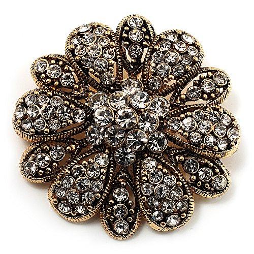 Vintage Swarovski Crystal Floral Brooch (Antique (Swarovski Crystal Vintage Brooch)