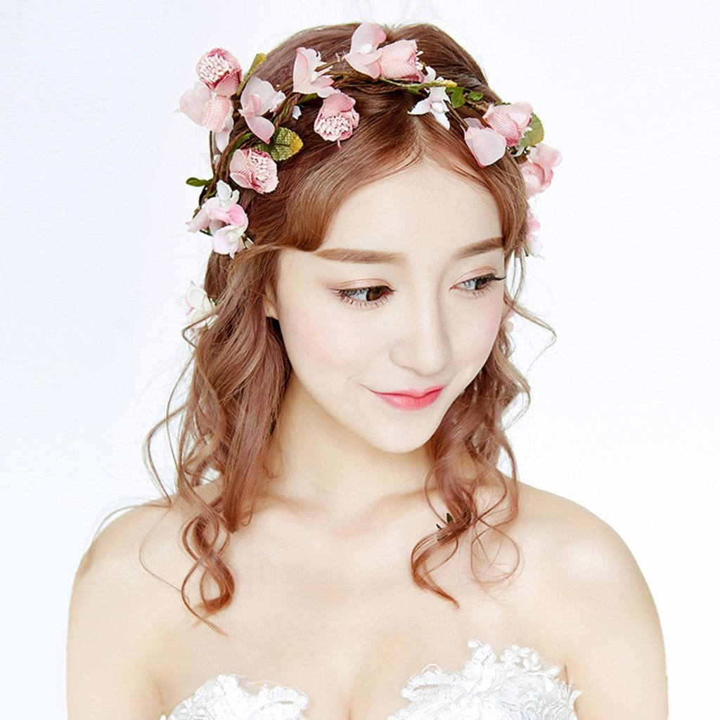 Wreath Flower, Headband Flower Garland Handmade Wedding Bride Party Ribbon Headband Wristband Hairband (Color : Pink)