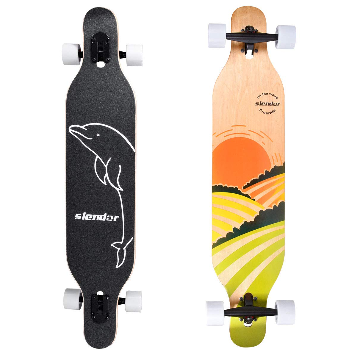 slendor Longboard Skateboard 42 inch Drop Through Deck Complete Maple Cruiser Freestyle, Camber Concave (Sun) by slendor