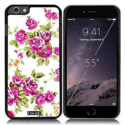 New Apple iPhone 6 s Plus 5.5-inch CocoZ? Case Beautiful roses flowers designs PC (Black PC & Rose Flowers (Blackberry Q 10 Phone Cases)