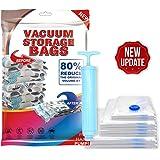 AMERTEER Premium Vacuum Storage Bags. 80% More Storage! Hand-Pump for Travel! Double-Zip Seal and Triple Seal Turbo…