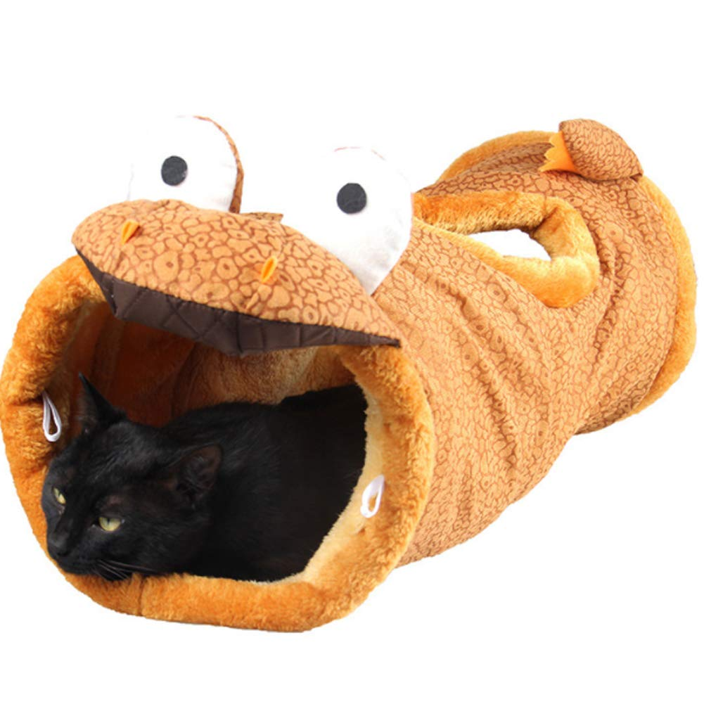 Pet Collapsible Cat Tunnel,Cat Tube,Cat Toys Play Tunnel,Durable Suede Hideaway Pet Crinkle Tunnel,Dinosaur Giraffe with Peek Hole for Cat, Puppy, Kitty, Kitten, Rabbit,C by PJDDP