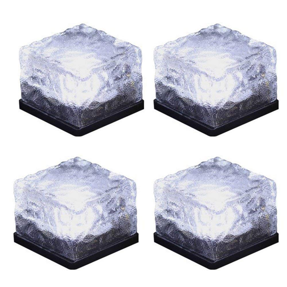 Solar Brick Light Solar Ice Light Ice Cube Lights Buried Light Paver for Garden Courtyard Pathway Patio Outdoor Decoration 4 Pack White (Upgraded Package)