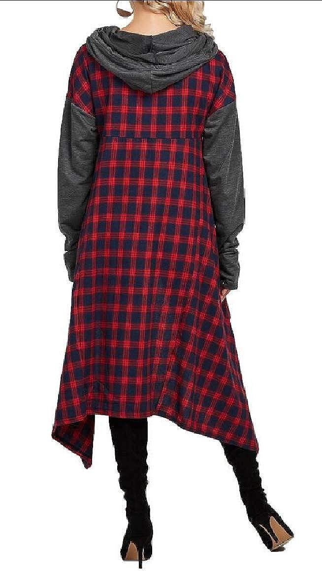 omniscient Women Patchwork Plaid Hooded Tops Sweatshirt Sweater Asymmetric Blouse