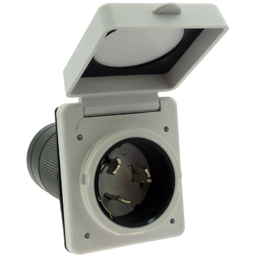 NU-Set RV129R White Power Cord Twist Electrical Lock (50 amp 125v/250)