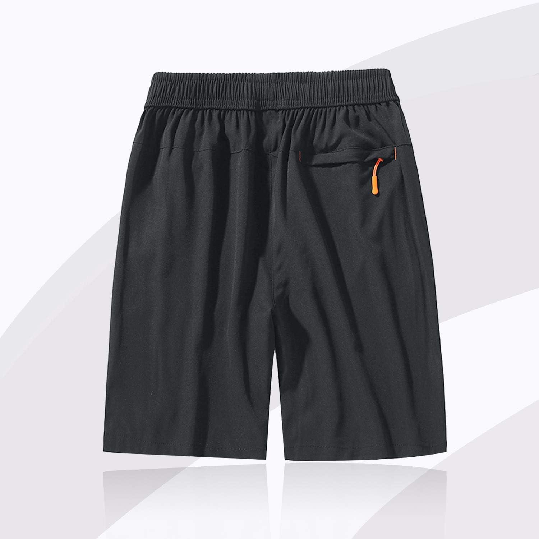 con Bolsillos con Cremallera Transpirables Ligeros SUKUTU Pantalones Cortos de Secado r/ápido para Hombres Pantalones Cortos de Entrenamiento Sueltos Ligeros y al Aire Libre