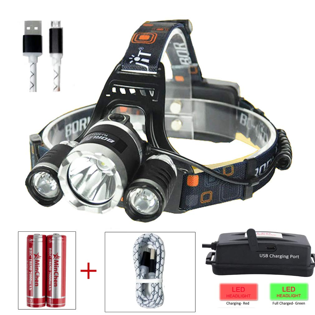 High Power LED Headlamp Minchen Boruit 5000LM XM-L2 2XPE Rechargeable LED Headlamp Headlight Flashlight with 2X Protected 18650 Batteries and USB Charging Cable
