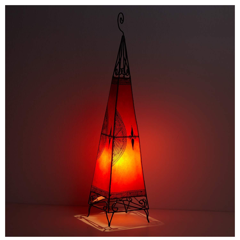 Orientalische Hennalampe marokkanische Lederlampe handbemalte Stehlampe handgefertigte Standleuchte aus echtem Leder Zwina Orange