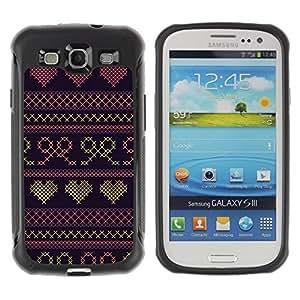 Suave TPU GEL Carcasa Funda Silicona Blando Estuche Caso de protección (para) Samsung Galaxy S3 III I9300 / CECELL Phone case / / Heart Quilted Bowtie Purple Sweater /