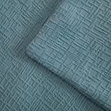 """Kevin Textile Velvet Decoration Throw Pillow Case Comfatbale Square Soft Striped Decorative Cushion Covers for Bed/Chair/Couch, 18""""x18""""(45cm),2 pcs,Niagara Blue"""