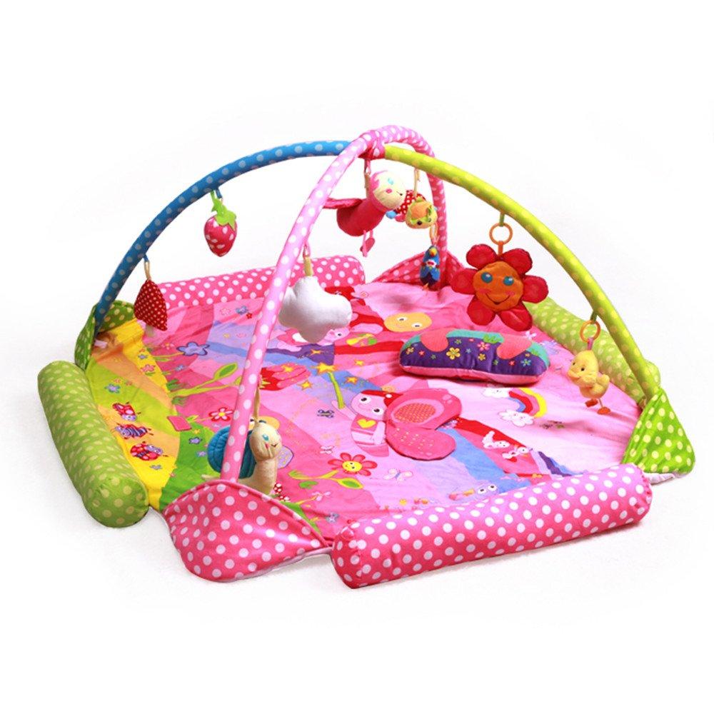 m/úsica Zinsale 4 en 1 Grande Reci/én nacido Beb/é Estera de juego Gimnasio para bebes Alfombras de juego Estera de arrastre acolchada con Centro de actividades Abeja sonido y juguetes educativos.